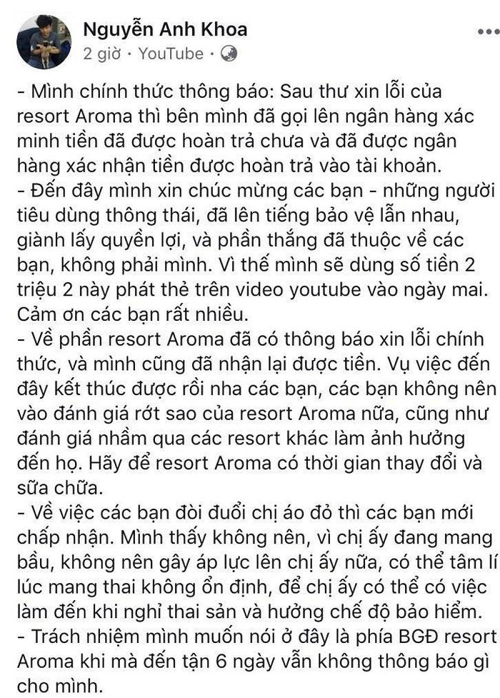 Thông báo của Khoa Pug về việc nhận được lời xin lỗi từ Aroma